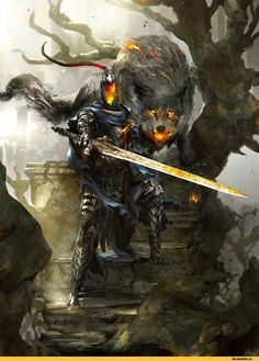 Dark Souls,фэндомы,Dark Souls 3,Artorias The Abysswalker,DS персонажи,Great Grey Wolf Sif,DS art
