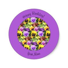 Pansies Watercolor Classic Round Sticker - diy cyo customize create your own personalize