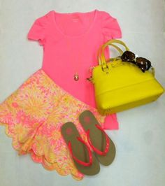 LILLY PULITZER, Mardi top in sparkle pink, LILLY PULITZER, Buttercup short in sunkissed with glow,  TORY BURCH, Flip flop in neon pink,  KATE SPADE, Maise purse in doyel yellow,  TORY BURCH, Sunglasses,  MONKEE'S, Necklace
