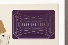 """""""Geode"""" - Modern, Elegant Save The Date Magnets in Amethyst by Rebecca Bowen."""
