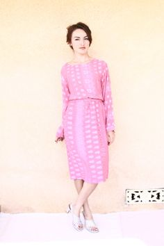 Pink day dress / semi sheer floral dress / long by aLaPlageVintage, $30.00