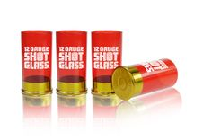 12 Gauge Shot Glass -- gift idea for those gun lovers in my life. Interesting twist on the gift of bullets or more guns.