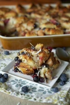 Blueberry Coconut Bread Pudding, I am trying it with warm maple syrup for Christmas dessert!