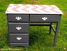 Use the Chevron Stencil from Cutting Edge Stencils to easily add the zig zag pattern to your desk! http://www.cuttingedgestencils.com/chevron-stencil-pattern.html