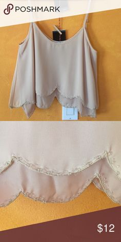 Scalloped dreams crop top Lined at the bottom with delicate beading Tops Crop Tops