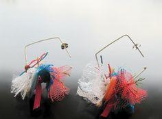 Fabric & button earrings - Handmade jewelry, Χειροποίητο κόσμημα by Maria Apostolou