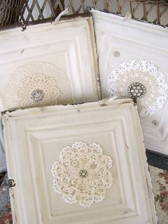 Victorian Ceiling Tin, Rhinestone and Lace Art