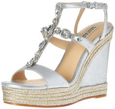 Badgley Mischka Women's Coco Espadrille Wedge Sandal, Silver, 8 M US. Suede T-strap sandal featuring wedge heel with braided espadrille trim and glitzy jewel accents.