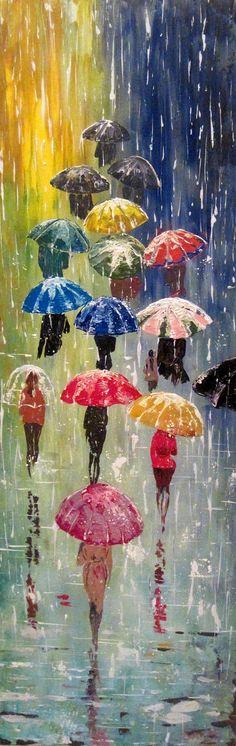 Original abstrakte Malerei Acryl - regnerischen Nacht mit Regenschirmen - regen Waldlandschaft - bunte abstrakte Spachtel - auf Bestellung gefertigt. Name: Bunten Regenschirmen -2 Maler: Maria Hristova Größe: 31,5 x 12 (80 x 30 cm) 47 x 18 (120 x 45 cm) Bitte kontaktieren Sie mich für