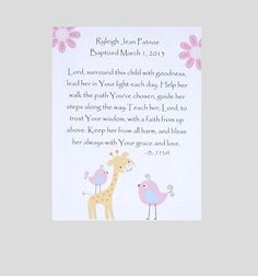 A Prayer for your baby girl - Baptism Gift Kids Wall Art Baby Girl Art Decor by JustSayItOutLoud, $12.00