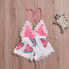 e1c5029dec71 Girls  Clothing (Sizes 4   Up) Newborn Toddler Baby Girl Romper Lace Jumpsuit  Outfit Watermelon Summer Clothes