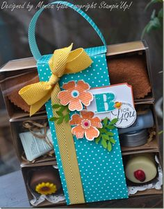 Gift packaging - Tag a Bag gift box kits, Flower Shop stamp set, Pansy Punch, Chevron Ribbon, Bird Builder Punch leaves, by http://monicas-passions.blogspot.com