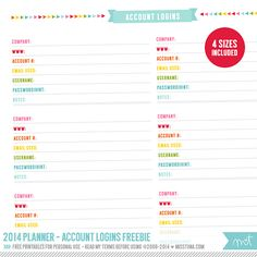 2014 Planner – a whole tone of Free Printables, page as shown + more. Click for the details.