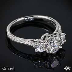 3 Stone Swan Diamond Engagement Ring by Vatche with 0.844ct Expert Selection