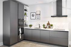 Grey Kitchen Designs, Kitchen Room Design, Kitchen Cabinet Design, Modern Kitchen Design, Home Decor Kitchen, Kitchen Furniture, Home Kitchens, Modern Ikea Kitchens, Modern Grey Kitchen