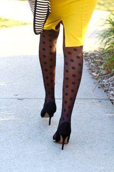 polka dot printed tights