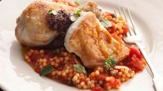 Pan-fried chicken with fregola