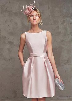 Lovely Satin Bateau Neckline A-line Homecoming Dresses