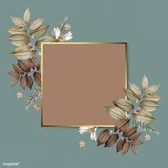 Square foliage frame on green background vector | premium image by rawpixel.com Framed Wallpaper, Flower Background Wallpaper, Flower Backgrounds, Background Patterns, Wallpaper Backgrounds, Background Ppt, Screen Wallpaper, Instagram Frame, Floral Logo