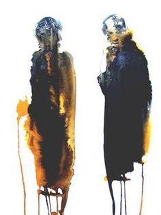 "Saatchi Online Artist Carmit Weizman; Painting, ""dark figures"" #art"