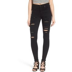 Women's A Gold E 'Sophie' High Rise Skinny Jeans (£105) ❤ liked on Polyvore featuring jeans, moon struck, high waisted distressed skinny jeans, dark skinny jeans, high waisted distressed jeans, high waisted ripped skinny jeans and ripped jeans