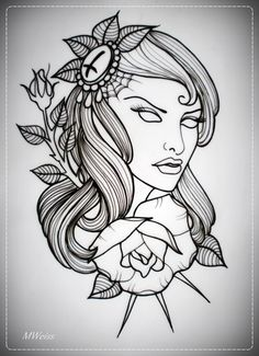 girl with rose tattoo flash OUTLINE by *oldSkullLovebyMW on deviantART