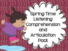 """COMPREHENSION AND ARTICULATION!!  Target listening comprehension skills and articulation with this activity that includes 12 """"spring"""" stories with listening comprehension questions and a list of targeted speech sounds. Targeted sounds include /r/, /s/, /l/, /sh/, /ch/, and /th/!"""