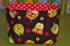 Fabric Basket Owls