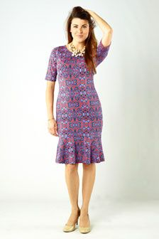 Tara Fitted Dress: $147.00   Tara in Mandarin Red and Amethyst Orchid in a cool geo print has been cut from our jersey knit for a slim fit. The sleeves hit just above the elbow, which is perfect for the beginning of Fall. We are obsessed with the slightly flared hem, that will move as you walk.