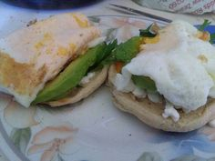 This is my go to breakfast.  Avocado, salad mix, cottage cheese and eggs on an English muffin.  Actually amazing