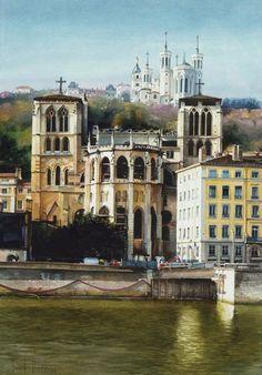 Franck Herete__watercolor paintings_city-art_акварель_город