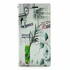 Postcard Pattern Card Slot Side Flip Stand TPU+ PU Leather Case for Samsung Galaxy S6 G9200