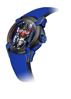 Jacob & Co.'s Epic Racing Collection Timepiece in Blue with Skeleton Hands #JacobArabo #JacobandCo.