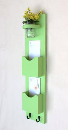 Mail Organizer - Mail Holder - Letter Holder - Mail and Key Holder - Mail Sorter -Key Hooks - Mason Jar on Etsy, $34.95