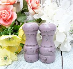 COLORFUL Lavender SHABBY CHIC Salt and Pepper by HuckleberryVntg, $16.00