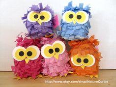 Piñatas~Five Mini Owl Pinatas Perfect Party Favors by NatureCurios on Etsy, $35.00