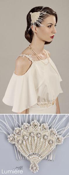 sparkling and elegant pearl/ crystal bridal headpiece