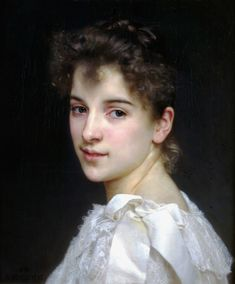 William Bouguereau (1825-1905) Portrait de Gabrielle Cot, One of the greatest head studies in the history of western paintings.
