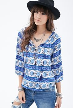 Southwestern Print Peasant Blouse from FOREVER 21 on Catalog Spree