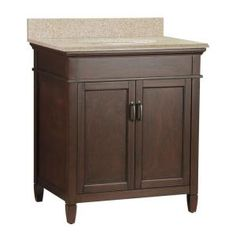 Downstairs -- Ashburn 31 In. X 22 In. Vanity In Mahogany With Granite Top In Beige-asgabg3122 At The Home Depot