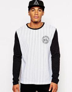ASOS+Skater+Stripe+Long+Sleeve+T-Shirt+With+Chest+Print