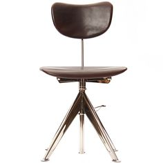 Odelberg Olsen; Chromed Steel and Leather-Covered Wood Task Chair for Knoll, 1950s.