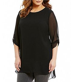 Vince Camuto Plus Roll Tab 34 Sleeve Chiffon Overlay Blouse Plus Size Casual, Dillards, Vince Camuto, Chiffon, Stylish, Blouse, Sleeves, Wedding Outfits, Overlay