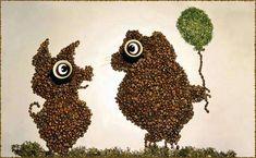 Coffee bean art is just as enjoyable as drinking a cuppa joe. These wonderful coffee bean art creations are the works of Irina Nikitina. Coffee Bean Art, Coffee Beans, Coffee Coffee, Coffee Time, Creative Artwork, Creative Photos, Cuppa Joe, Illusion Art, Creative Tattoos