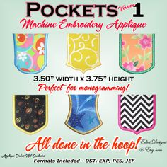 Pockets - Machine Embroidery Applique - Applique Pocket on Etsy, $9.00