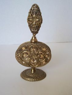 Vintage PERFUME BOTTLE Brass Filigree Ornate Floral Pattern