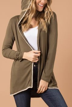 The stiched details make this hooded jacket the perfect spring transition piece (and it can even double as a beach cover up in the summer). 97% Viscove/3% S...