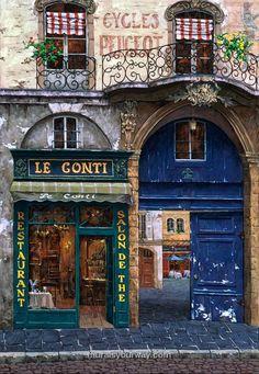 Fachada que da sensación de antigua por los colores que emplea. David Menéndez.✾✾shop front✾✾ / April In Paris