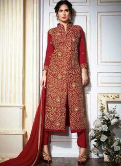 Bruna Abdullah Red Embroidery Work Tapeta Georgette Churidar Wedding Suit http://www.angelnx.com/Salwar-Kameez
