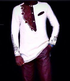 Brown & White African Mens Wear African Clothing by NayaasDesigns